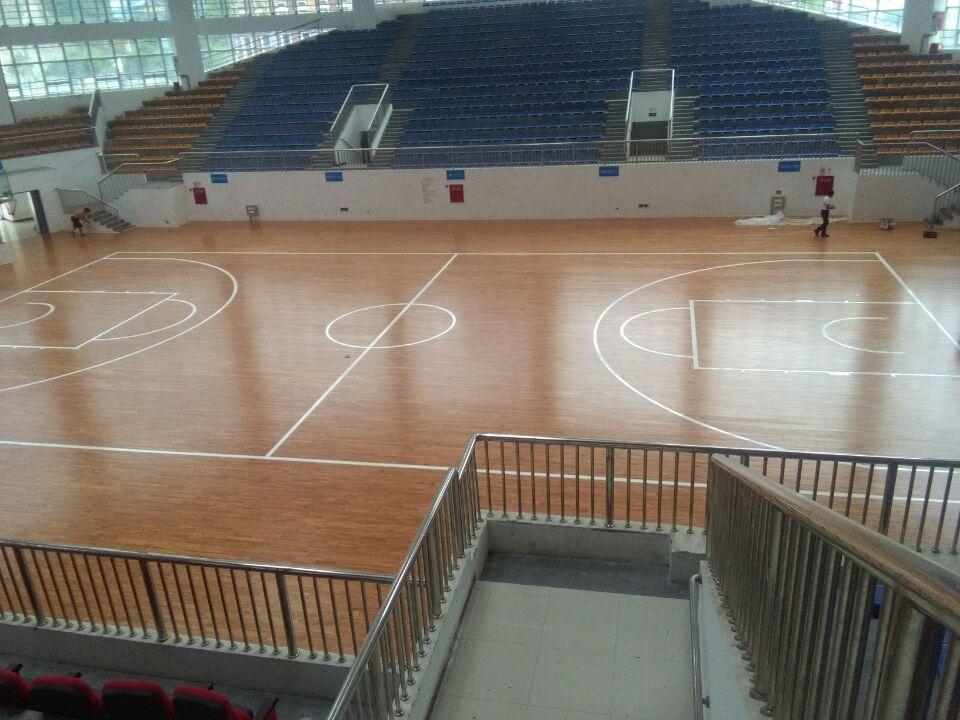 四川绵阳市平武县体育中心篮球木地板案例